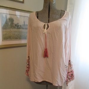 Ivory Embroidered Boho Tunic Peasant Blouse Top